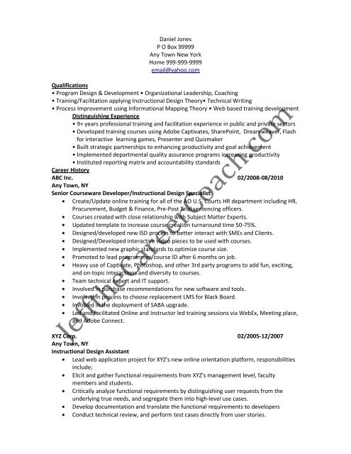the instructional design resume sample two in pdf samples strong work ethic cosmetologist Resume Instructional Design Resume Samples
