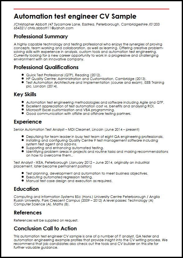 this is the automation test engineer cv example by myperfectcv resume template sample Resume Resume Format For Testing Engineer