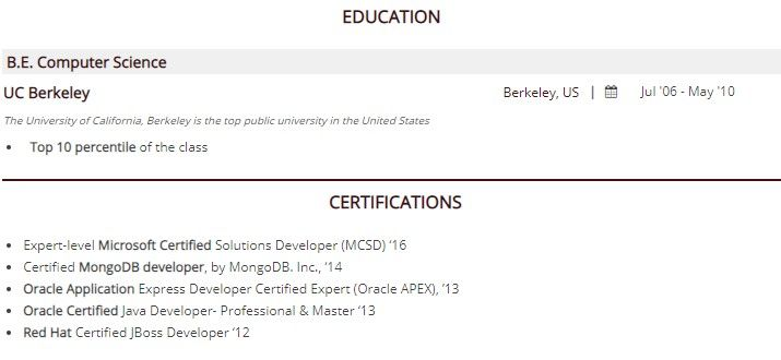 to certification on resume guide with examples put certifications separate section typing Resume Where To Put Certifications On Resume