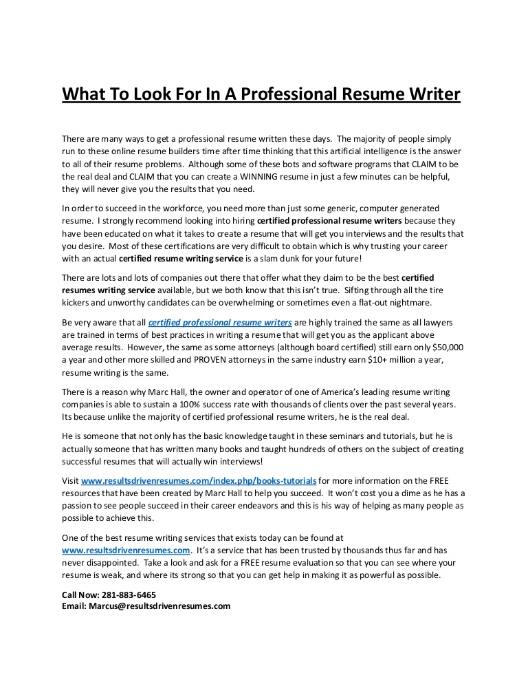 to look for in professional resume writer free writers Resume Free Professional Resume Writers