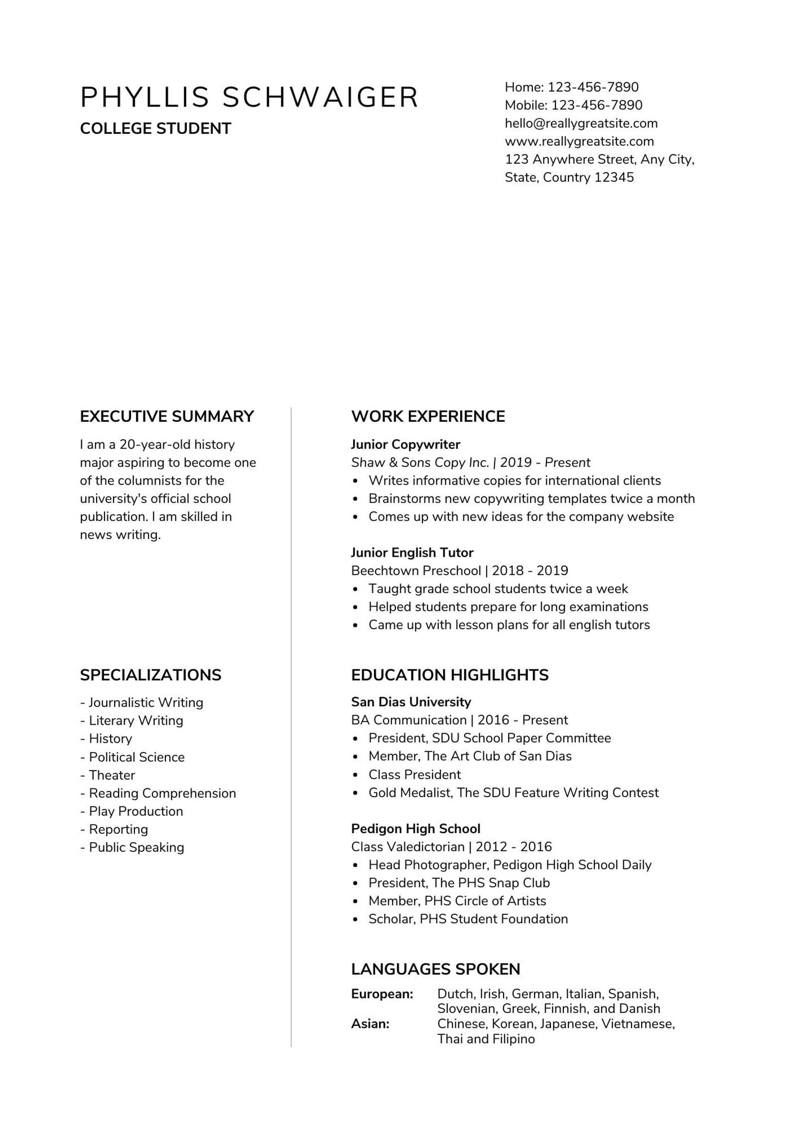to make resume for first job canva summary on high school student and black minimalist Resume Summary On Resume For High School Student