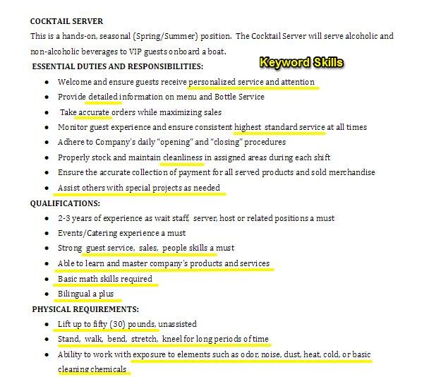 to tailor your resume job description changing fit the keywords in cocktail server offer Resume Changing Resume To Fit The Job