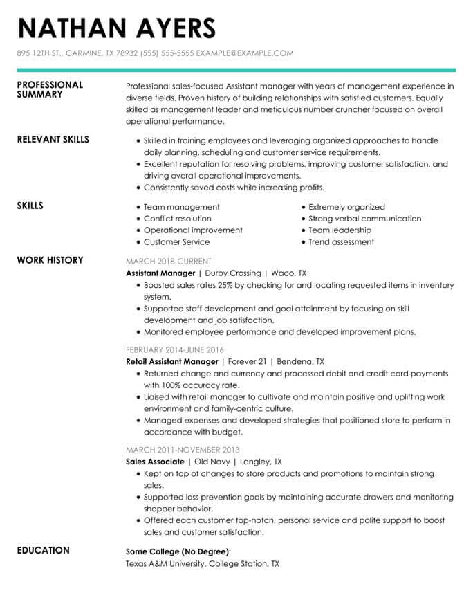 to write combination resume format examples included hloom sample assistantmanager Resume Combination Resume Sample