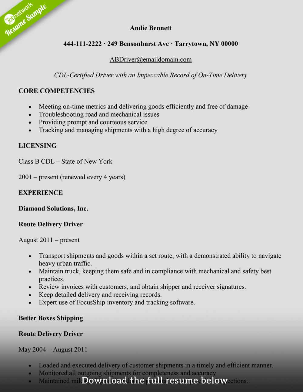 to write delivery driver resume with examples the jobnetwork freight and packages Resume Delivery Driver Resume Examples