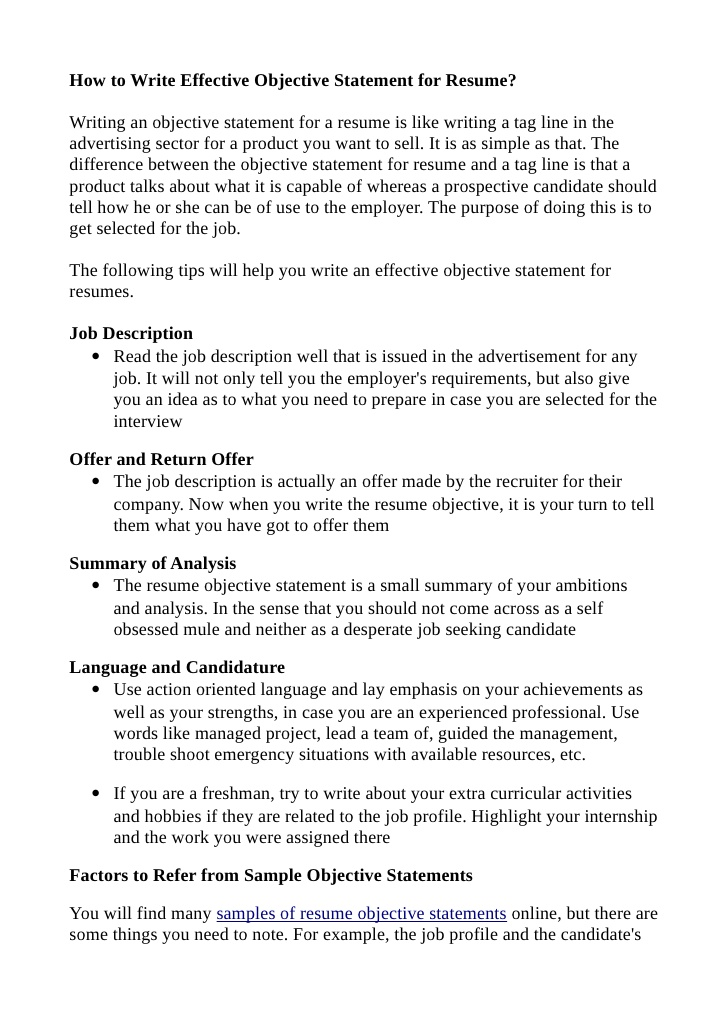 to write effective objective statement for resume does need an contact information night Resume Does A Resume Need An Objective