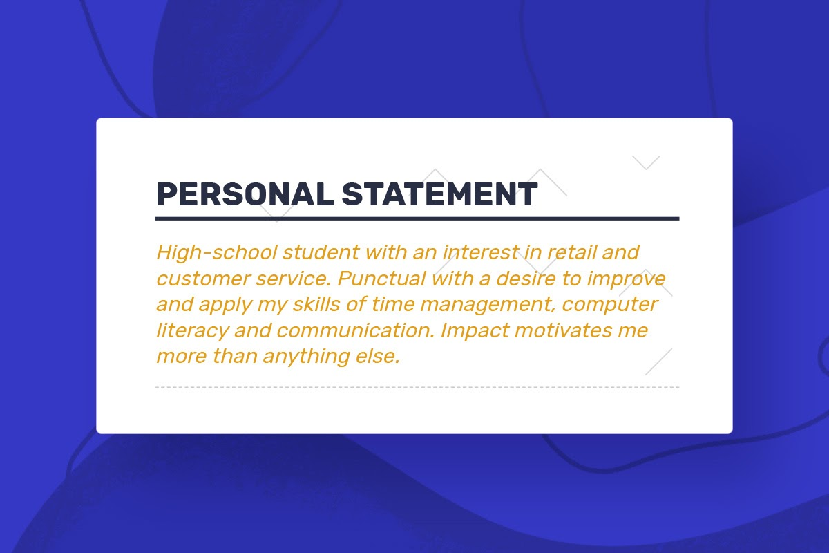 to write your first job resume personal statement personalstatement firstresume skid Resume Resume Personal Statement