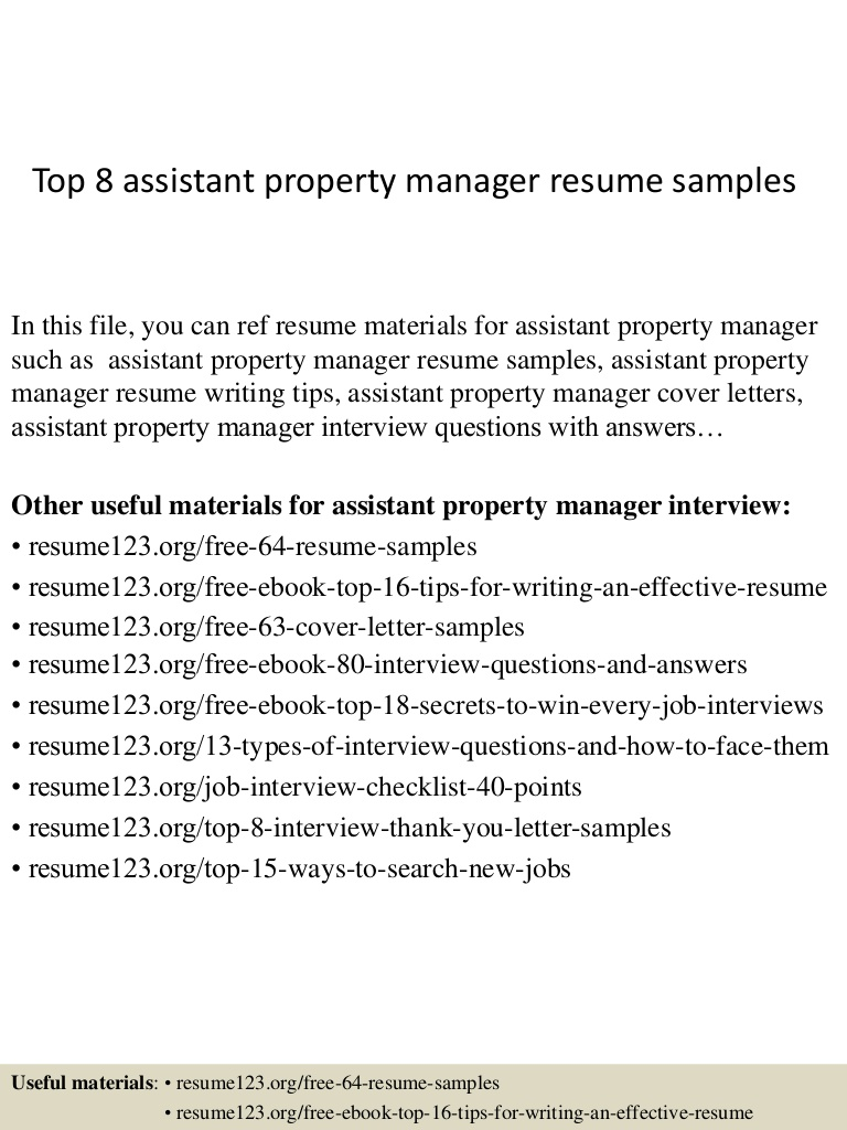 top assistant property manager resume samples top8assistantpropertymanagerresumesamples Resume Assistant Property Manager Resume
