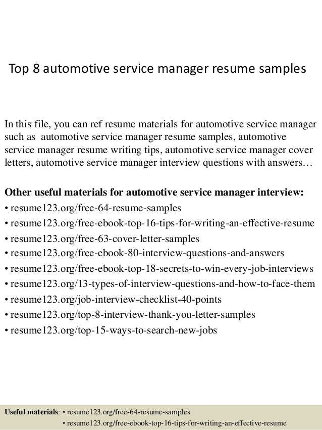 top automotive service manager resume samples auto examples best executive format Resume Auto Service Manager Resume Examples
