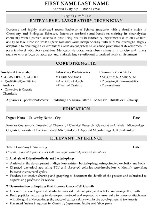 top biotechnology resume templates samples headline for entry level laboratory technician Resume Entry Level Lab Assistant Resume
