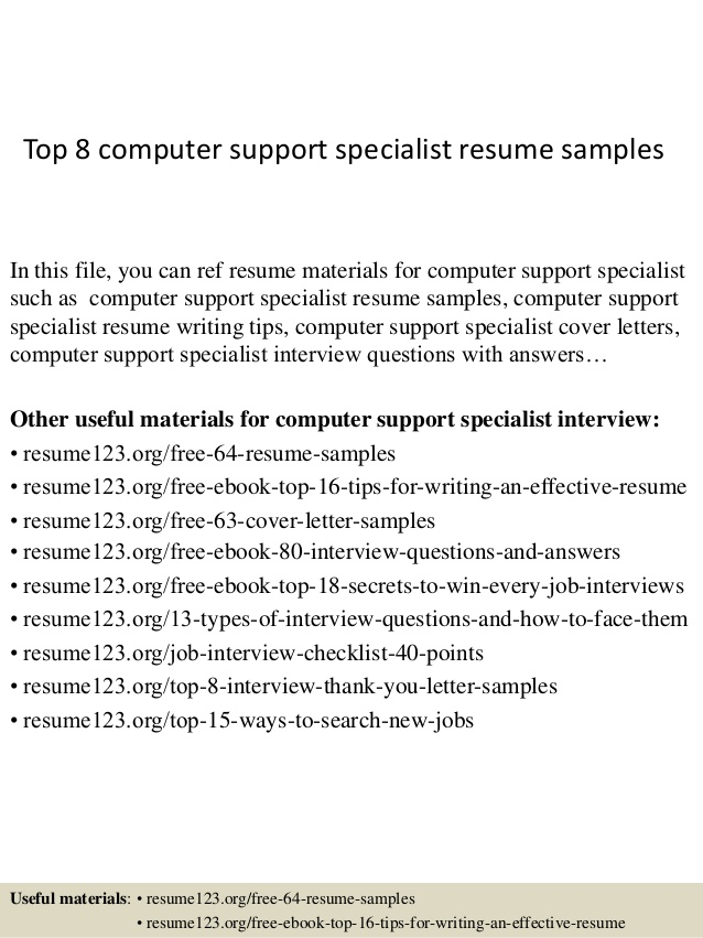 top computer support specialist resume samples examples one word skills for home health Resume Computer Support Specialist Resume Examples