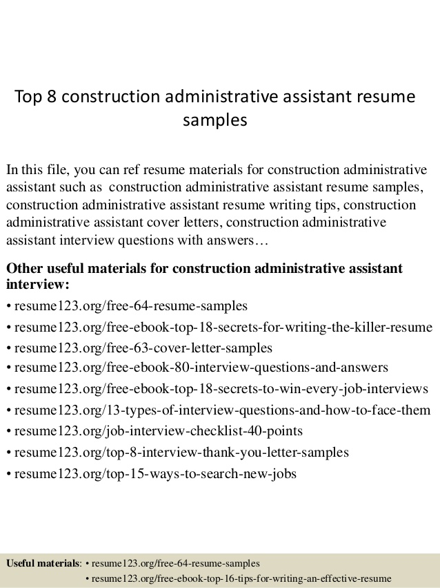 top construction administrative assistant resume samples admin sample baruch college Resume Admin Assistant Resume Sample