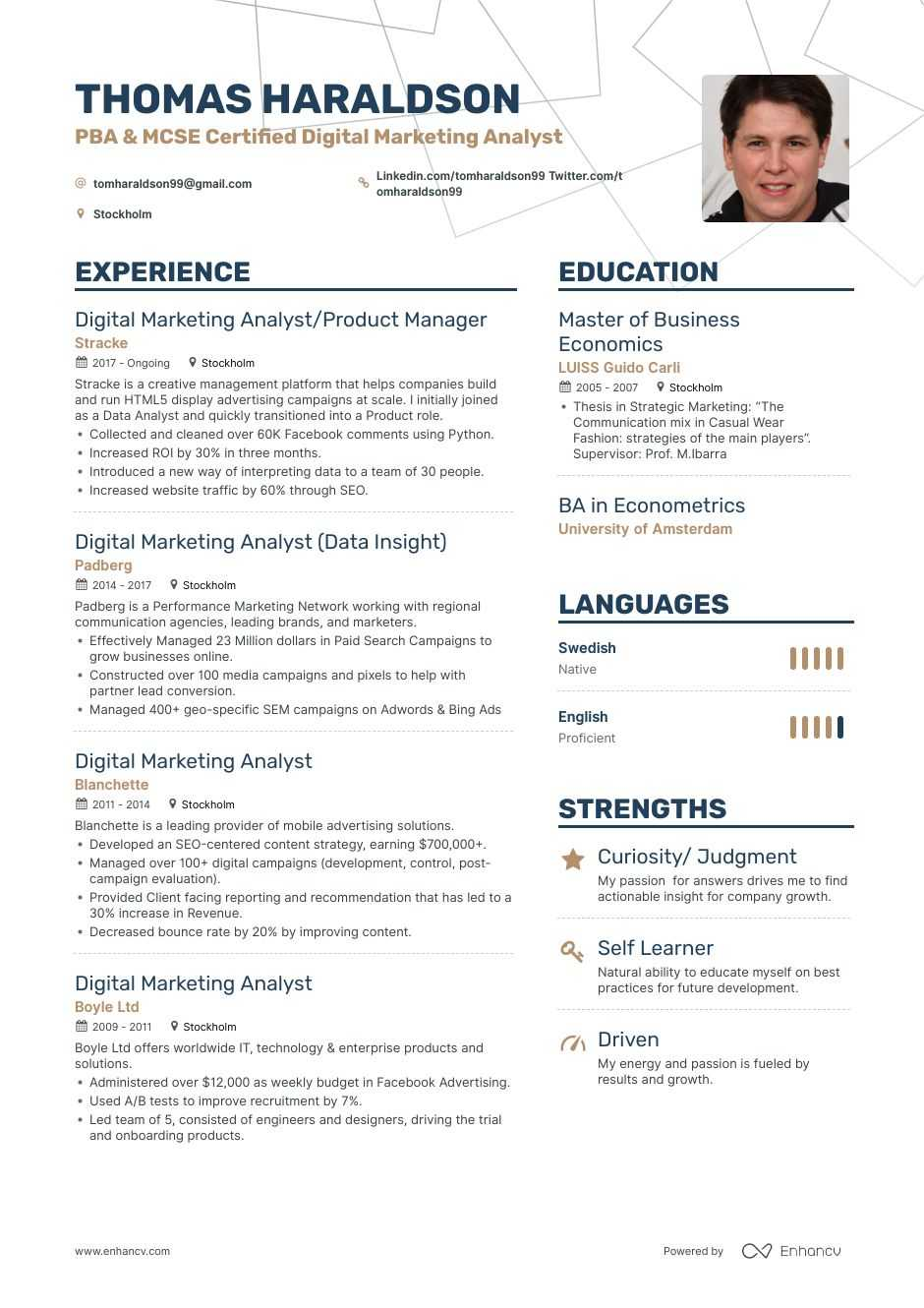 top digital marketing analyst resume examples samples for enhancv cpa sample entry level Resume Marketing Analyst Resume