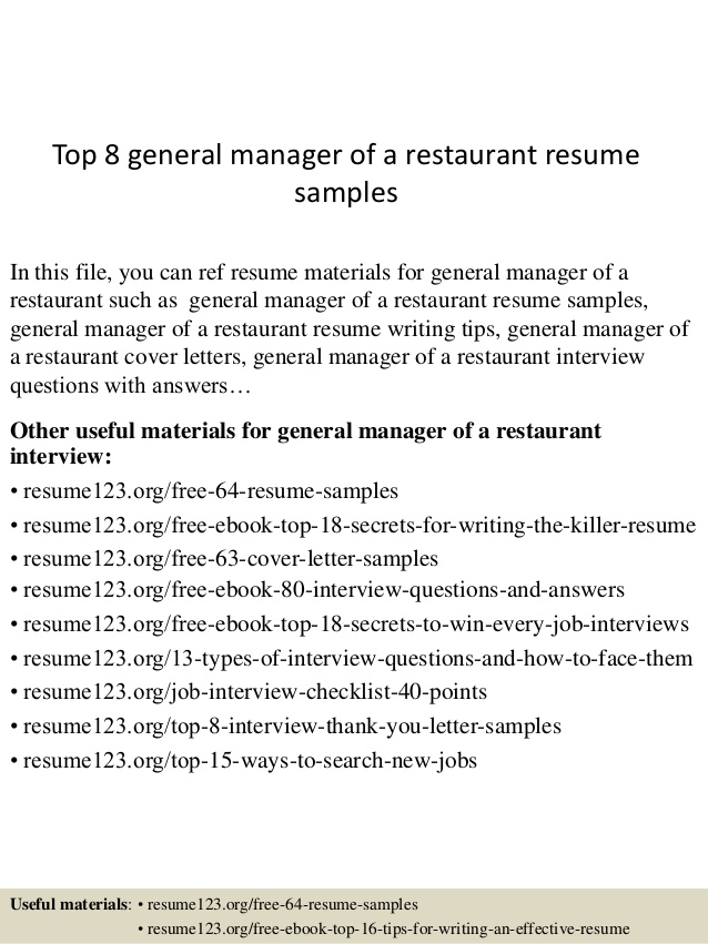 top general manager of restaurant resume samples the things they carried writing Resume Restaurant General Manager Resume