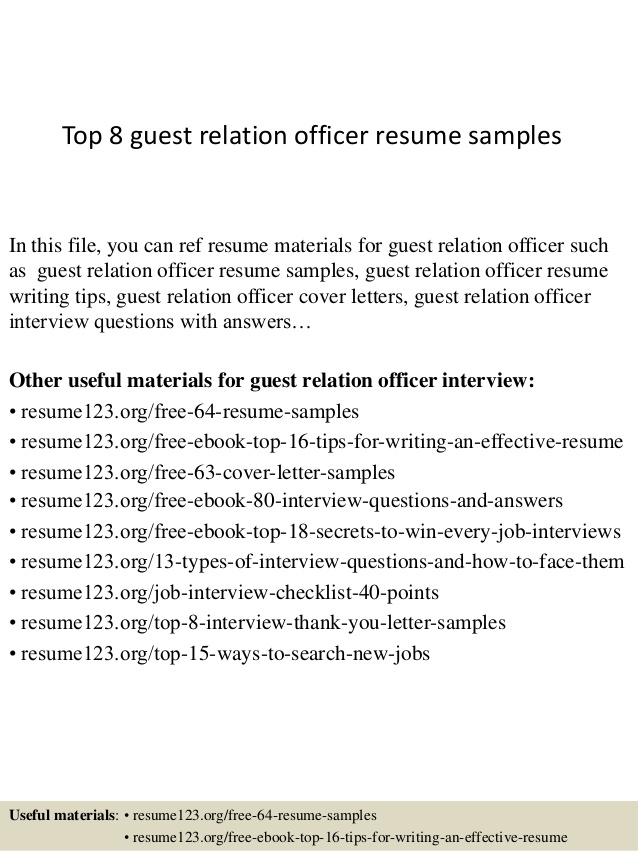 top guest relation officer resume samples customer relations housekeeping experience for Resume Customer Relations Officer Resume