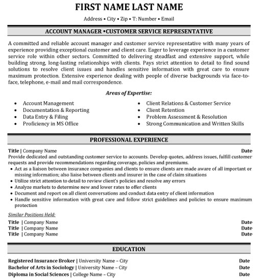 top insurance resume templates samples examples for industry ins account manager customer Resume Resume Examples For Insurance Industry