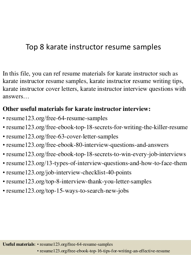 top karate instructor resume samples template server duties and responsibilities for Resume Instructor Resume Template