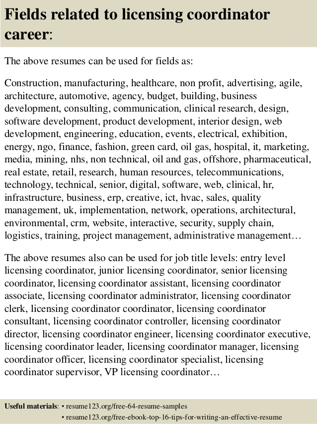 top licensing coordinator resume samples qualifications for format law graduates freshers Resume Licensing Coordinator Resume
