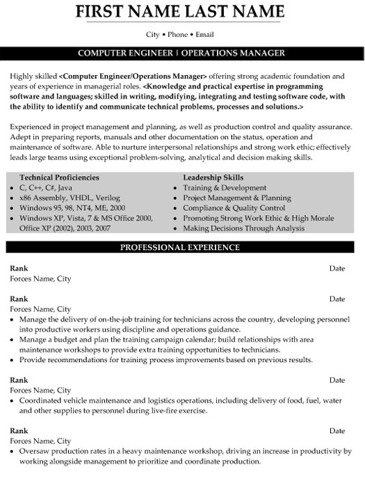 top military resume templates samples professional writers computer engineer operations Resume Professional Military Resume Writers