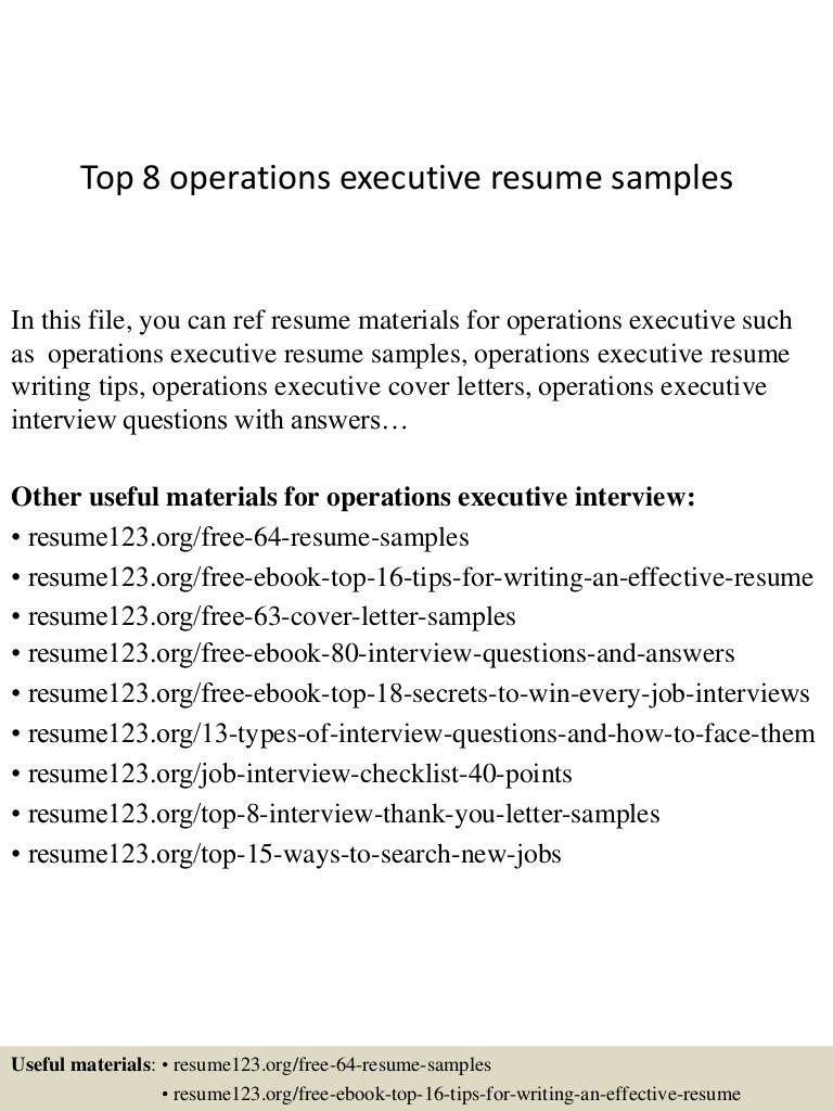 top operations executive resume samples sample of top8operationsexecutiveresumesamples Resume Sample Resume Of Operations Executive
