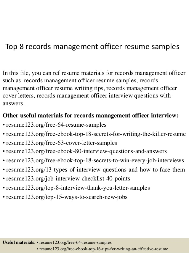 top records management officer resume samples sample and references limousine chauffeur Resume Records Management Resume Sample