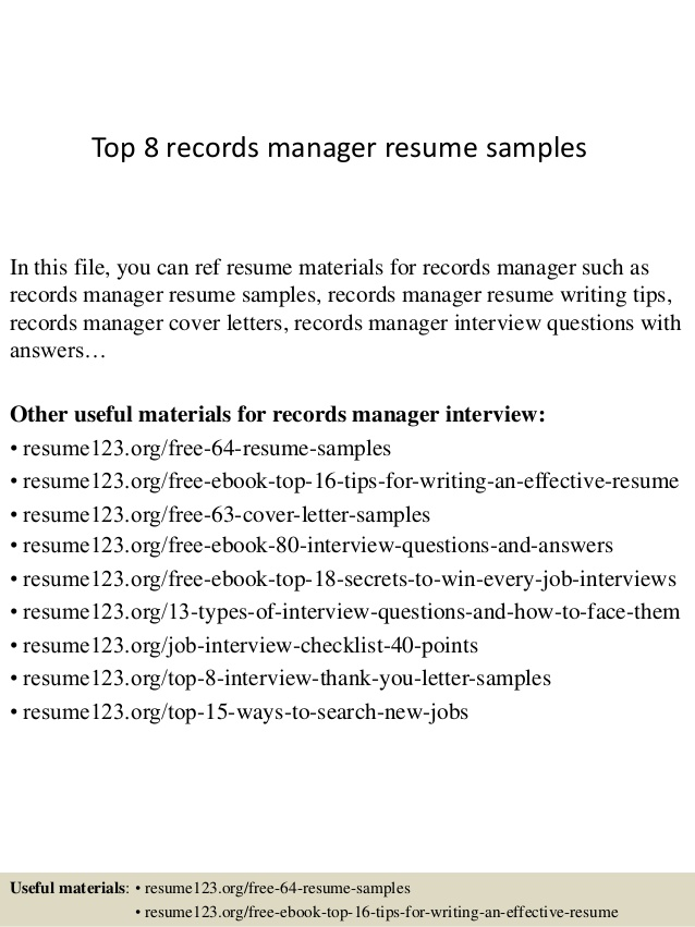 top records manager resume samples management sample master of social work examples Resume Records Management Resume Sample