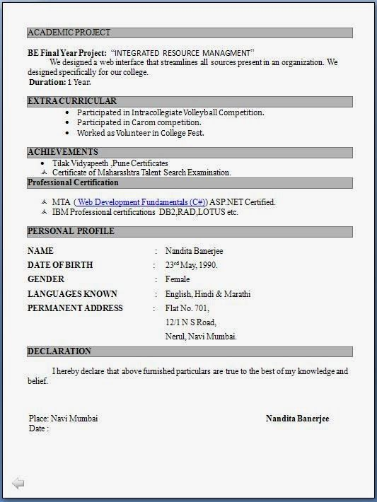 top resume formats for freshers format job in word pdf apartment maintenance description Resume Resume Format For Freshers Pdf
