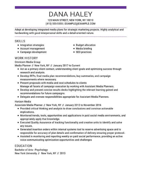 top resume skills examples myperfect section of example marketing media planner concise Resume Skills Section Of Resume Example
