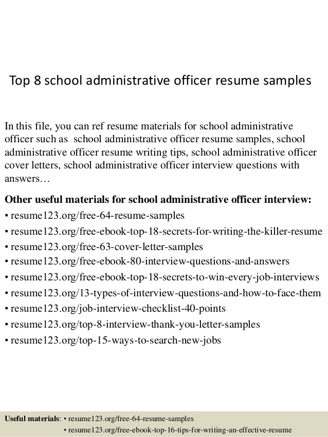 top school administrative officer resume samples format for standard template cosmetic Resume Resume Format For Administrative Officer