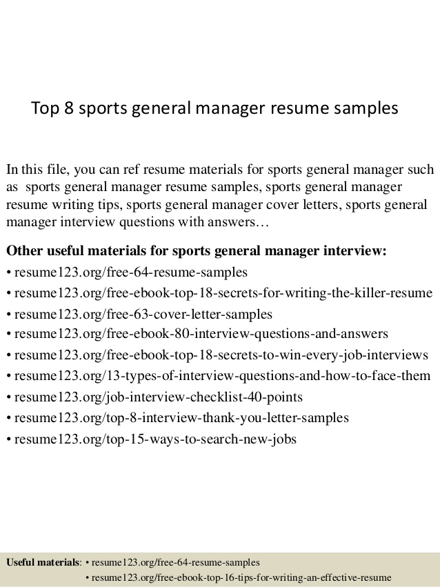 top sports general manager resume samples sample coding experience vet assistant job Resume General Manager Resume Sample