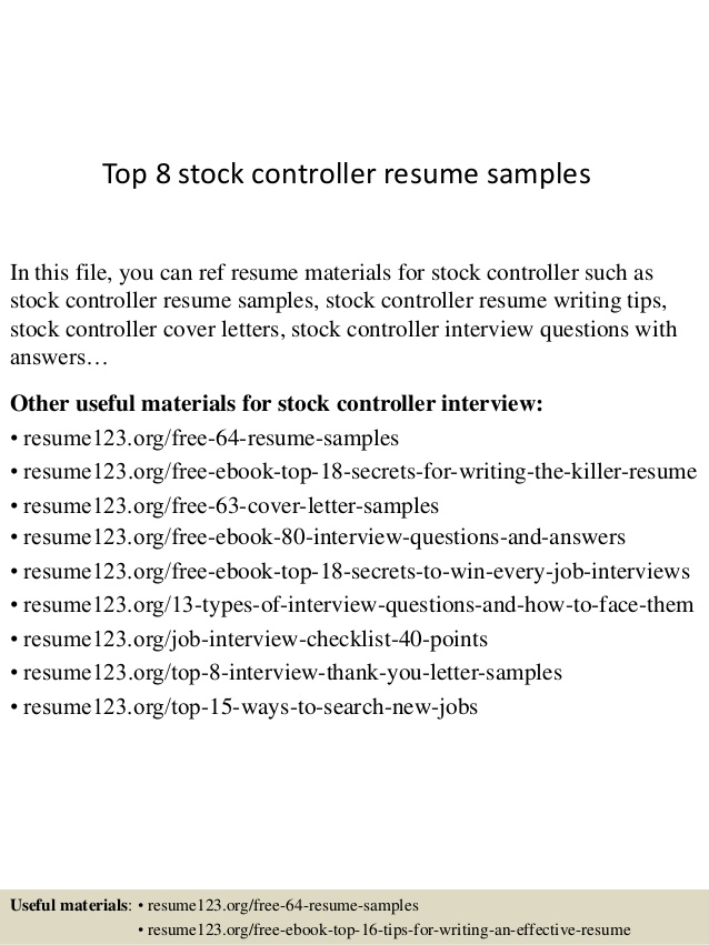 top stock controller resume samples cover letter for promotion simple student internship Resume Controller Resume Samples