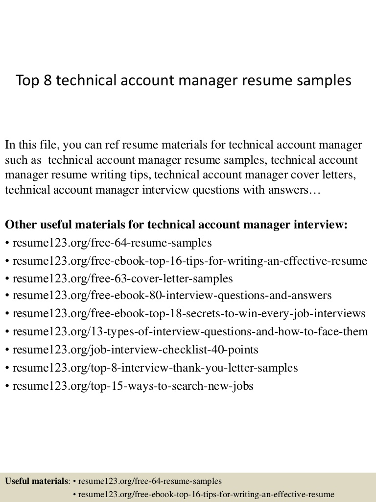 top technical account manager resume samples sample Resume Technical Account Manager Resume Sample