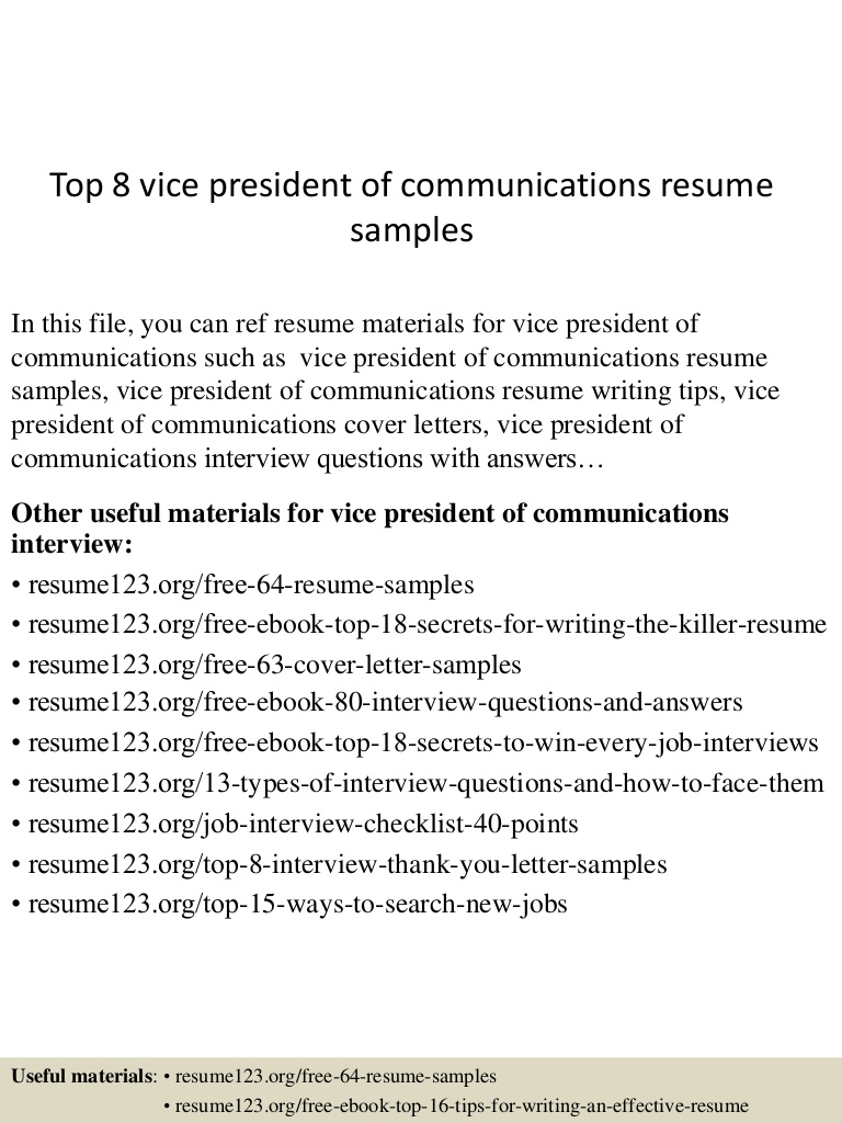 top vice president of communications resume samples vp Resume Vp Communications Resume