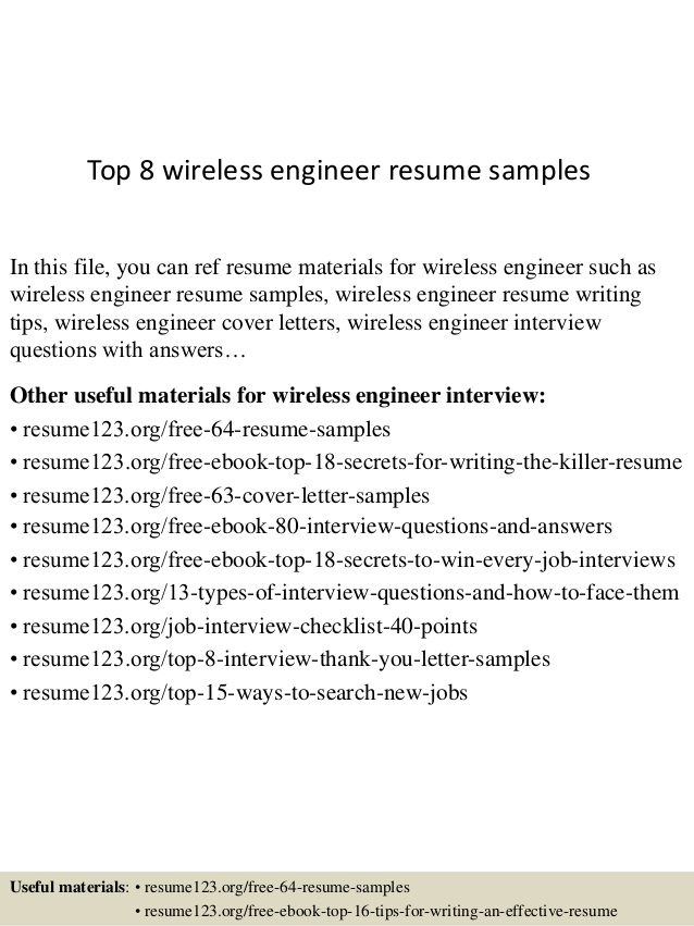 top wireless engineer resume samples sample examples of summary for receptionist free Resume Wireless Engineer Resume Sample