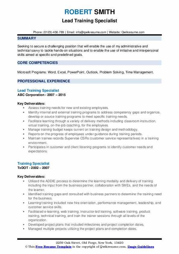 training specialist resume samples qwikresume objective for trainer pdf coo lou holtz Resume Resume Objective For Trainer
