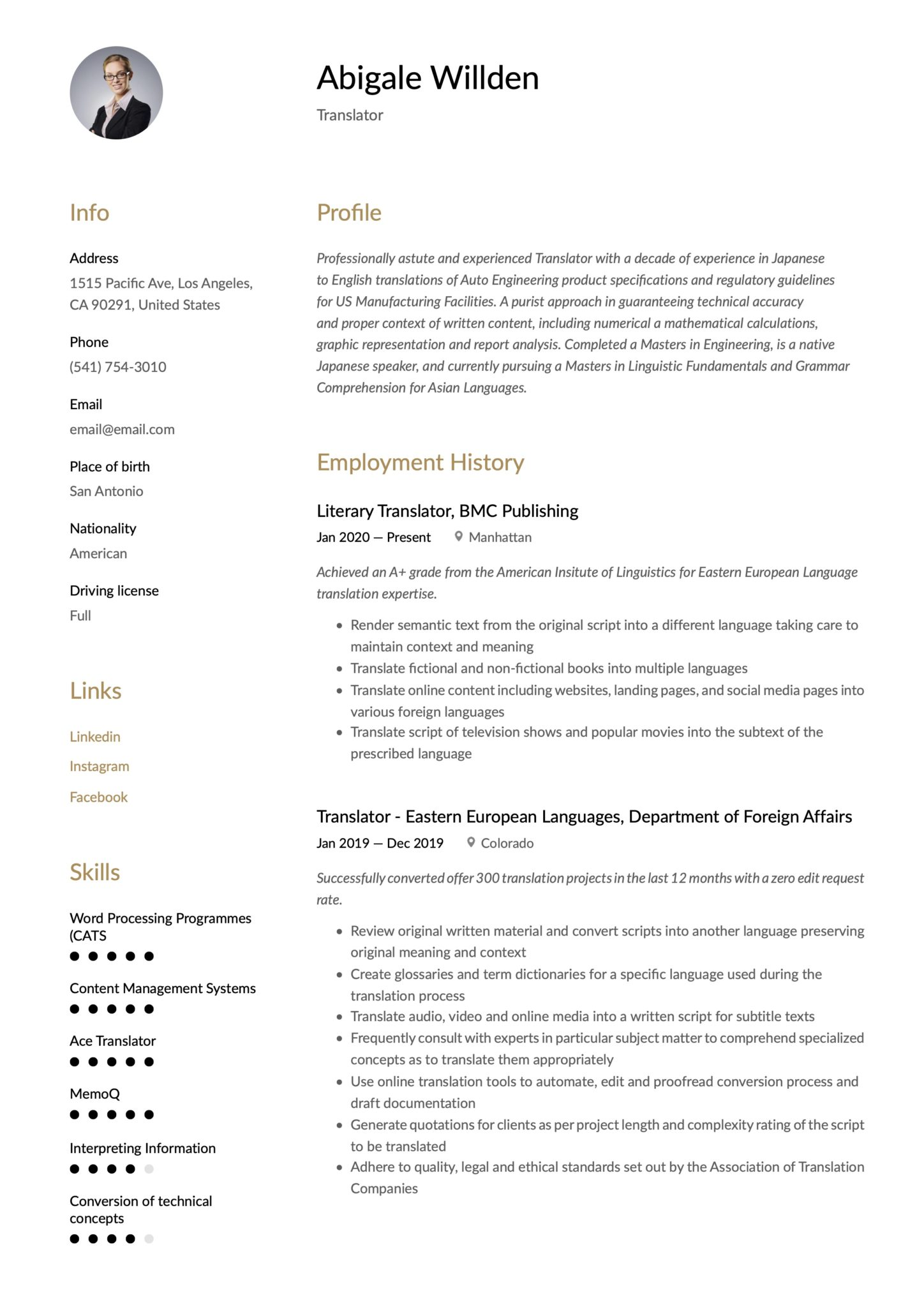 translator resume writing guide templates translate to spanish scaled statement examples Resume Translate Resume To Spanish
