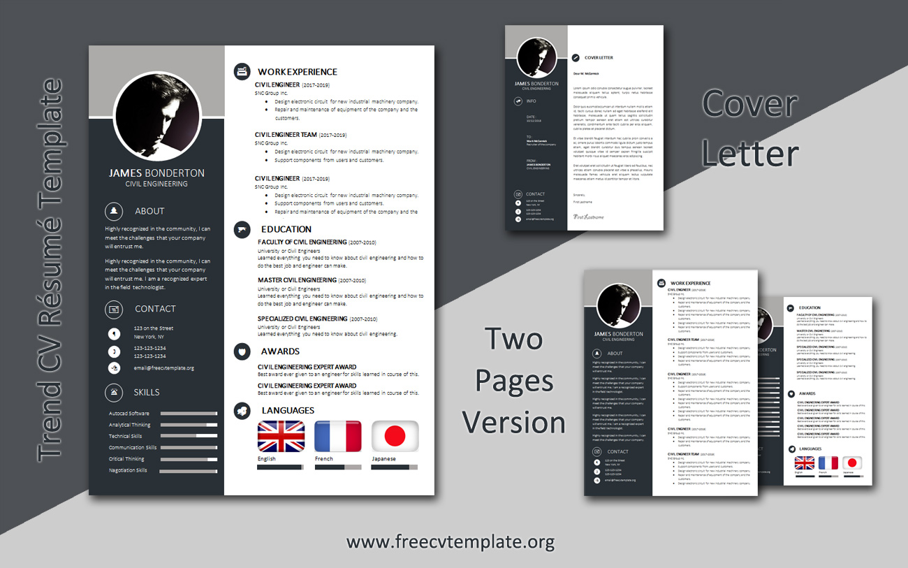 trend cv template in package get free templates best resume cover letter two bundle Resume Best Pages Resume Template