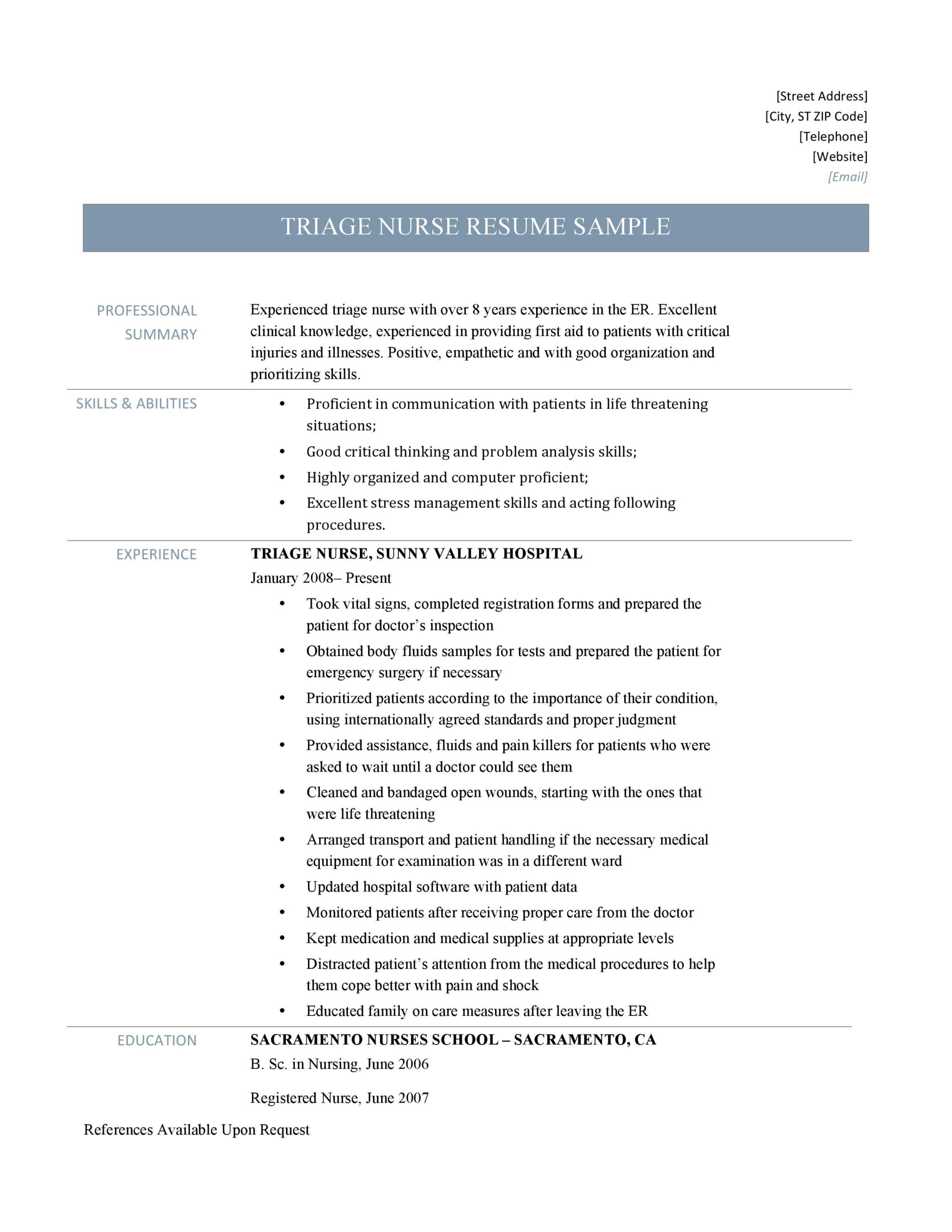 triage nurse resume sample and job description by builders medium professional summary Resume Professional Summary For Nursing Resume