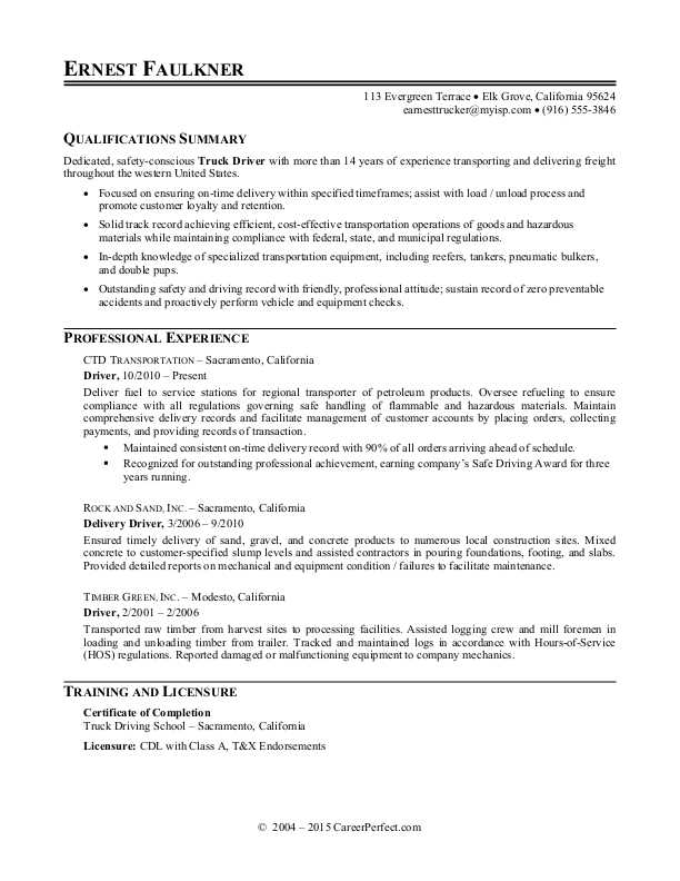 truck driver resume sample monster college student examples child care provider for high Resume Truck Driver Resume Sample Doc
