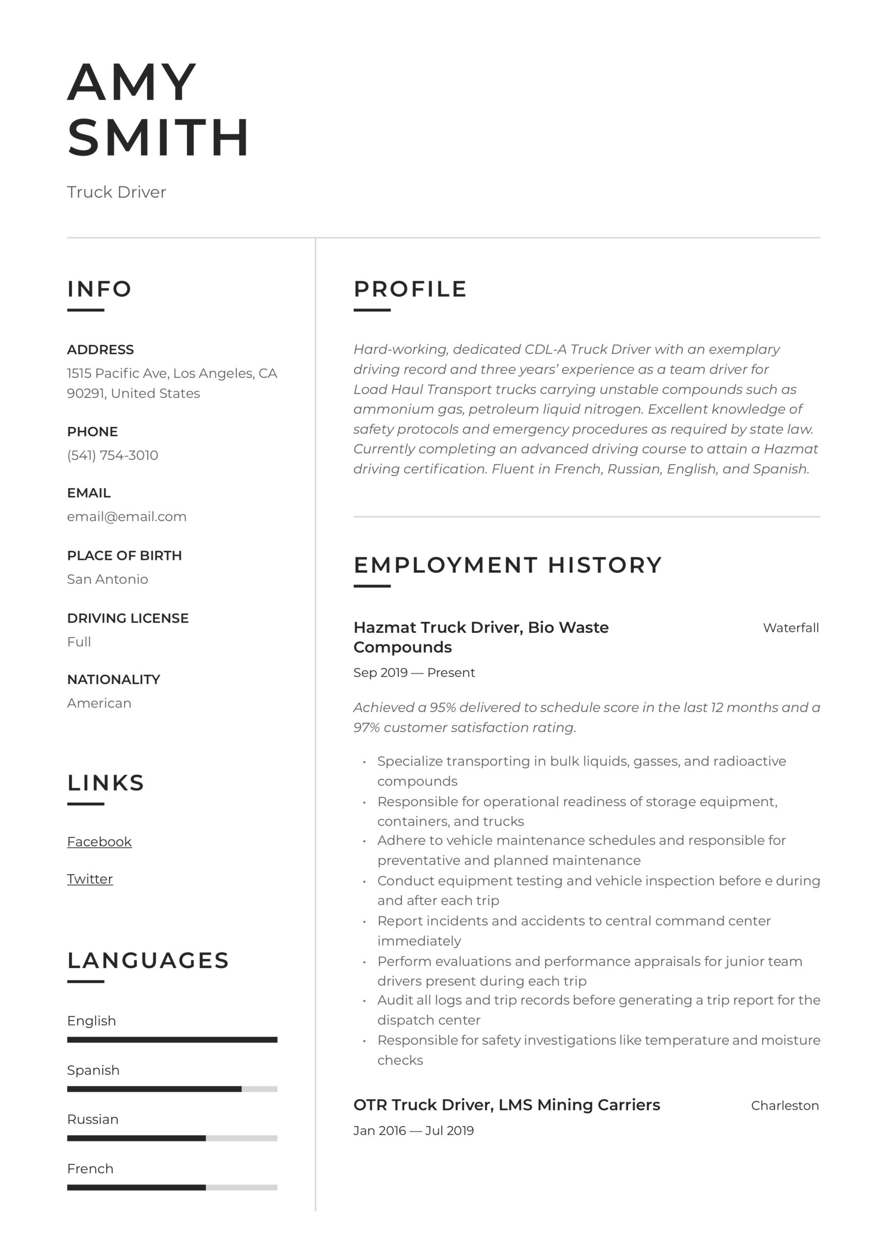 truck driver resume writing guide examples sample for lawyers child care provider public Resume Truck Driver Resume Sample Doc
