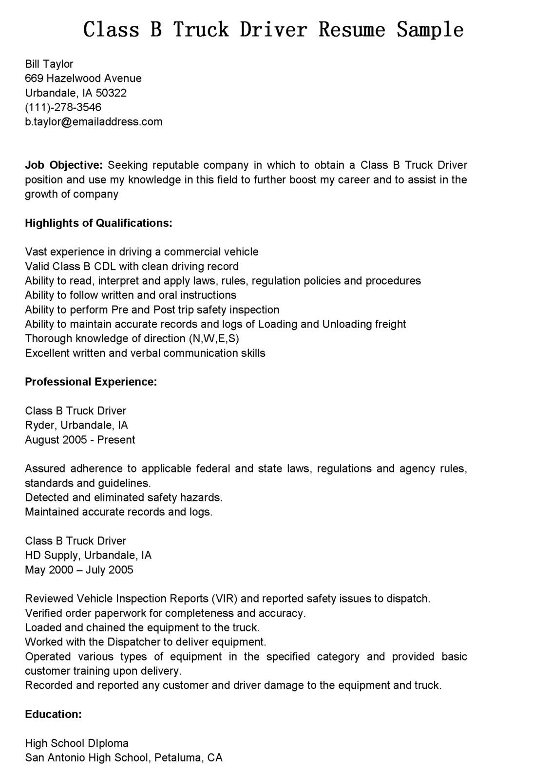 truck drivers resume sample latest format examples job driver objective work experience Resume Truck Driver Resume Objective