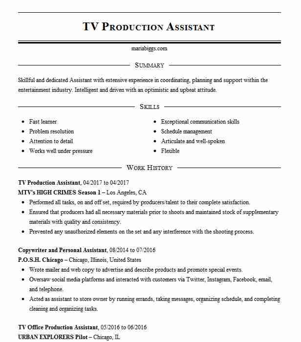 tv production assistant resume example resumes livecareer template cheer coach glazier Resume Production Assistant Resume Template