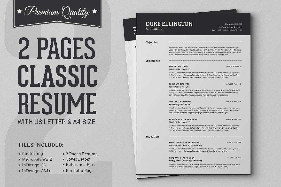 two classic resume cv template design cuts cover analyzer pega csa hong kong style Resume Two Page Resume Template