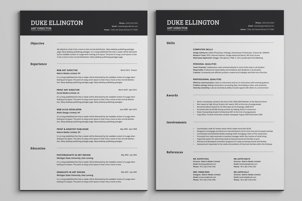 two classic resume cv template unique word downloadable healthcare skills free templates Resume Two Page Resume Template
