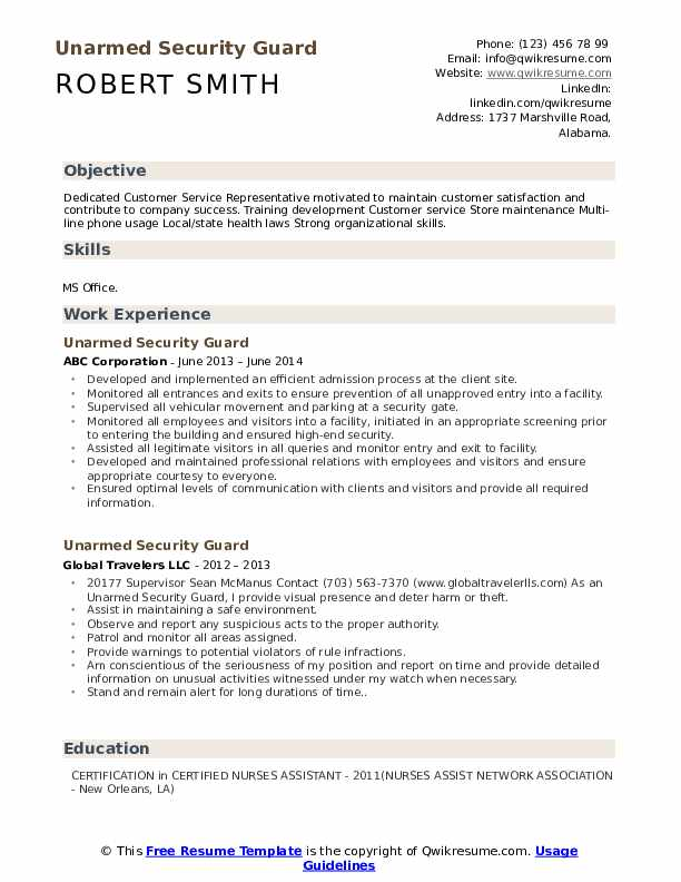 unarmed security guard resume samples qwikresume example pdf executive sample format for Resume Security Guard Resume Example