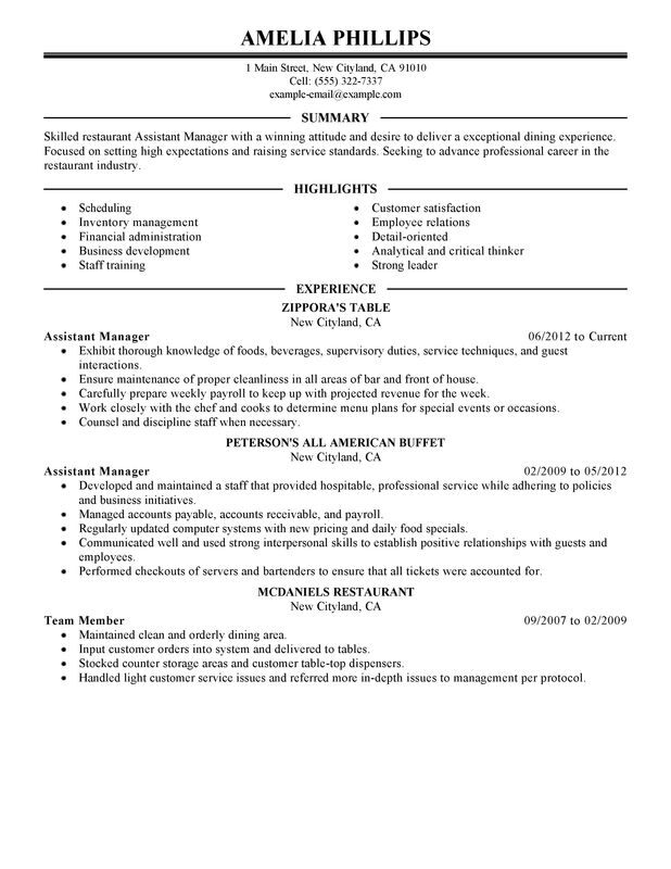 unforgettable assistant restaurant manager resume examples to stand out myperfectresume Resume Restaurant Assistant Manager Resume