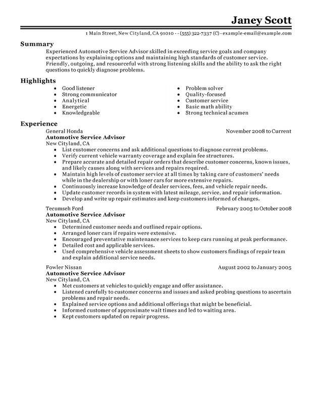 unforgettable automotive customer service advisor resume examples to stand out Resume Automotive Service Advisor Resume