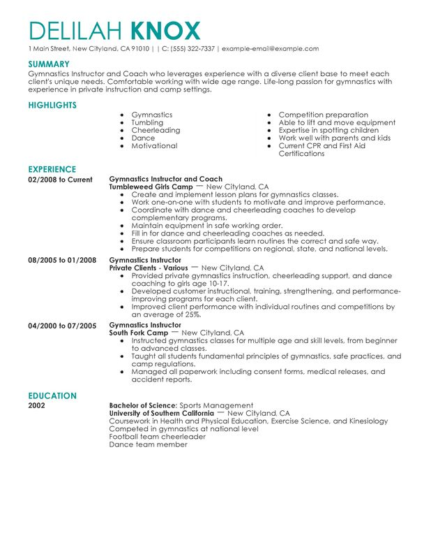 unforgettable gymnastics instructor resume examples to stand out myperfectresume sports Resume Sports Coach Resume Template