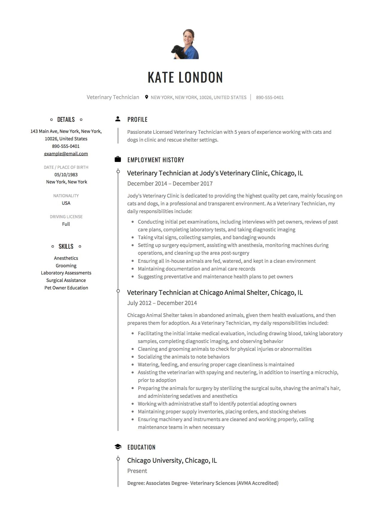 veterinary technician resume example medical template vet tech job description samples Resume Vet Tech Resume Samples
