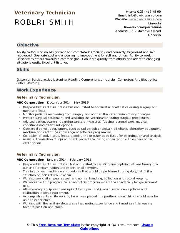 veterinary technician resume samples qwikresume vet tech pdf military police ui developer Resume Vet Tech Resume Samples