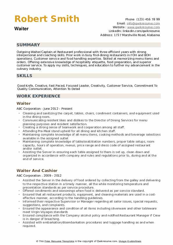 waiter resume samples qwikresume skills for waitress on pdf packaging examples workabroad Resume Skills For Waitress On Resume